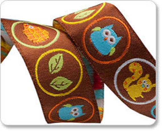 Brown Woodland Creatures Critters in Circles Squirrel Owl Hedgehog Leaves Hearts Jacquard Ribbon by Dena Designs 7/8 inch width - 1 yards
