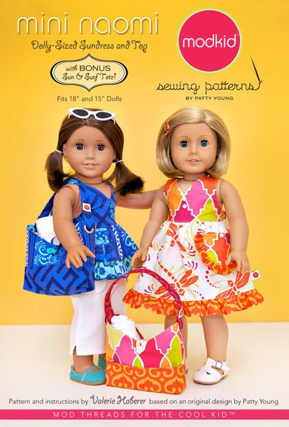 Modkid MINI Naomi 18 or 15 inch Doll Dolly Sundress Top and Tote Bag Sewing Pattern by Patty Young