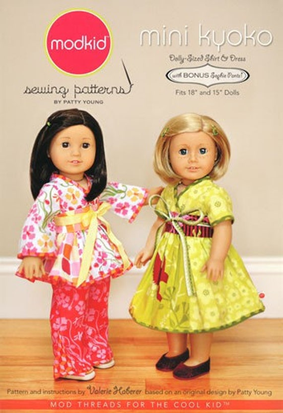 Modkid MINI Kyoko 18 or 15 inch Doll Dolly Dress Shirt Top and Pants Sewing Pattern by Patty Young