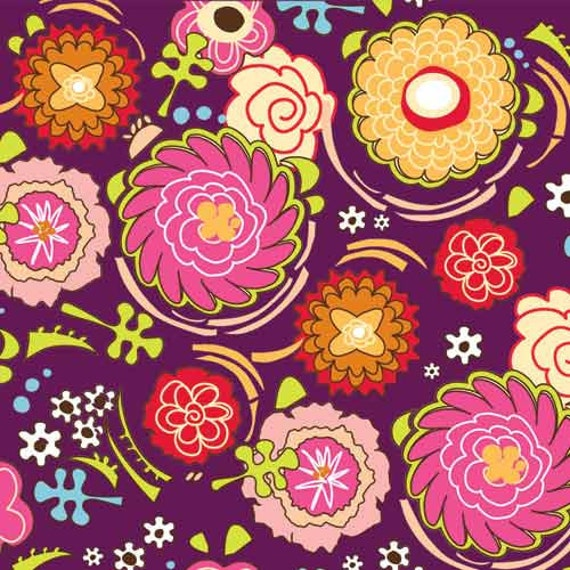 Pink Dazzled Plum Floral Cotton Fabric by Adornit Adorn It Carolees Creations - 1 yard