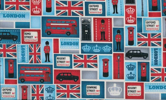 London Blocks Patchwork Blue I Love London British Collection by The Henley Studio for Andover Makower UK Fabrics - 1 yard