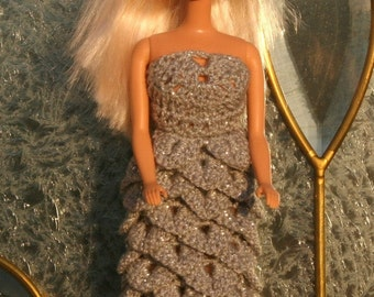 CROCHET PATTERN - Barbie Crochet Crododile Stich Gown -- Makes a great gift for that special little girl!