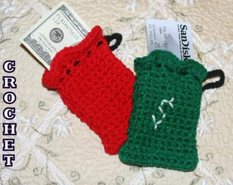 CROCHET PATTERN -  Santa Bag ---Use As Ornament, Money/Gift Card Bag, Jewelry Bag, Potpourri Bag