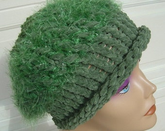 Shades of Green in Multi-Textures Hat - OOAK Handmade by an EtsyMom