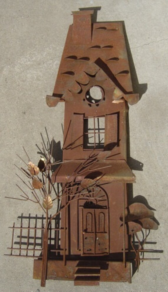 Rustic Metal House Sculpture Wall Hanging Art - Vintage Treasure from an EtsyMom