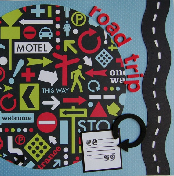 Road Trip 12x12 double premade scrapbook pages