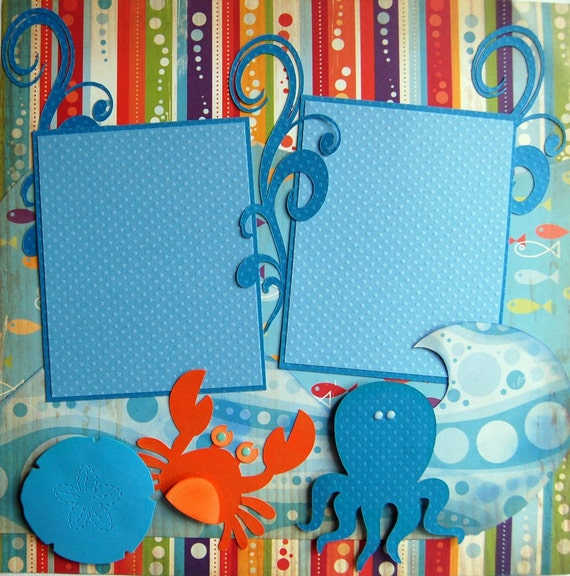 Double 12x12 premade pages  BEACH layout Cosmo Cricket paper from urbansavanna