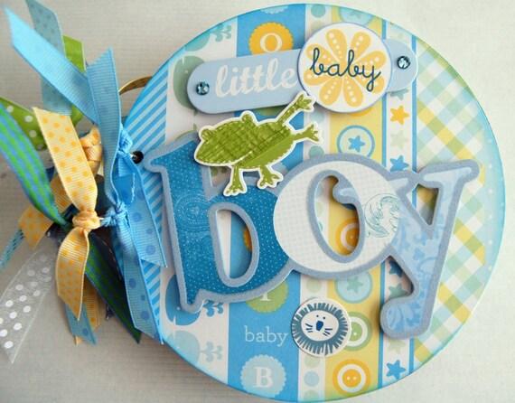 baby boy mini chipboard  album premade