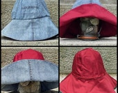 Wide Brim, Reversible Sunhat, Recycled Light Blue Denim and Red Cotton Vintage Reproduction
