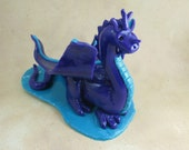 Purple Dragon Cake Topper - polymer clay