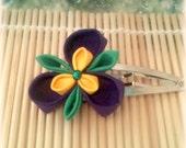 Blooming Iris Japanese Kanzashi Clip