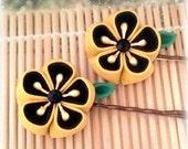 Bumblebee Kanzashi Japanese Bobby Pins