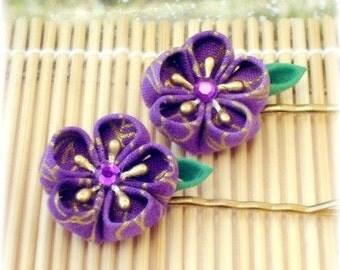 Royal Amethyst Japanese Kanzashi Bobby Pins
