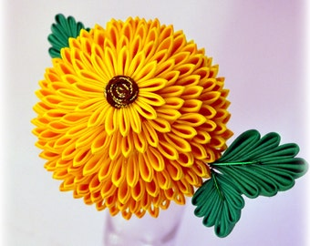 Golden Chrysanthemum Kanzashi Hair Stick