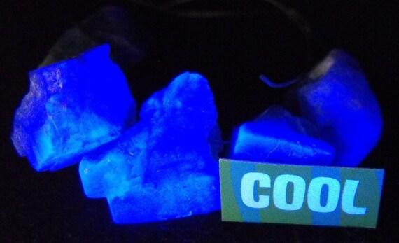 ROCKIN' COOL naturally fluorescent English FLUORITE drilled crystal gemstone glow in dark bead strand