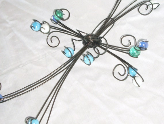 Ocean Waves Marble and Wire Cross Wall Decor- MADE to ORDER
