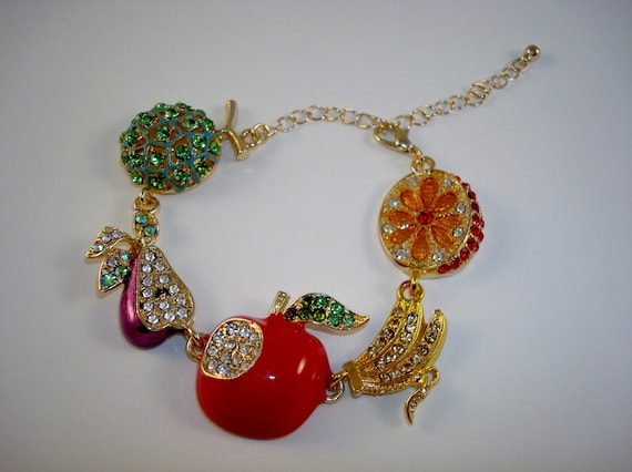 Multi Color Fruit Charm Link Bracelet