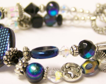 Glass Beaded Silver Bracelet (Double Strand) - Amya