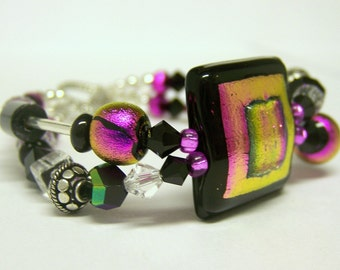 Dichoric Glass Beaded Bracelet (Silver Double Strand) - Audrina