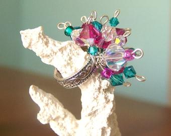 Sterling Silver Cluster Ring (Swarovski Crystal) - Olivia