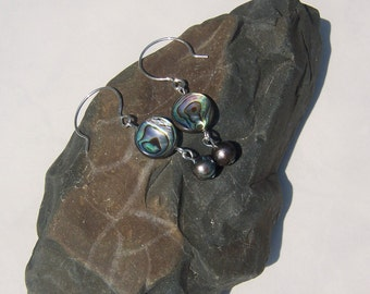 Round Abalone and Freshwater Pearl Dangles on French Hooks. PA3