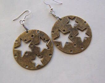 Brass Stars-Cut Out Design-Fashionably Large Earrings-Superstar