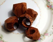 Big and Funky Faceted Red Oak Ring--Size 6
