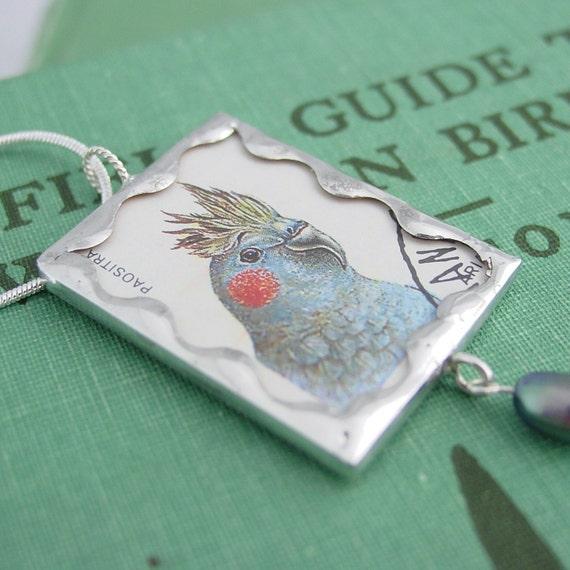 Cockatiel Bird - Postage Stamp Soldered Glass Pendant Necklace