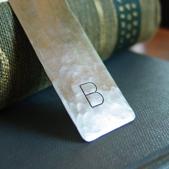 Initial Bookmark, Hand Stamped, Personalized, Silver Metal Bookmark, Custom, Wedding Favor, Graduation Gift, Corporate Gift, Groomsman Gift