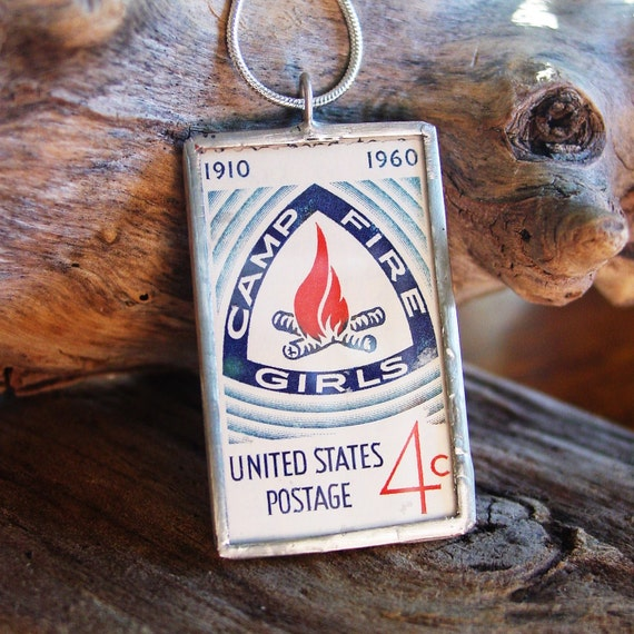 Camp Fire Girls Necklace Vintage US Postal Stamp Soldered Pendant