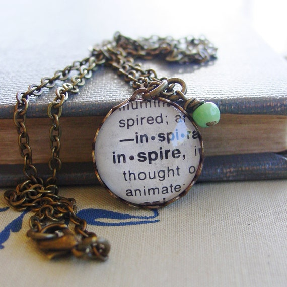 Inspire - Dictionary Necklace - Vintage Elements - Word Charm - Antiqued Brass - Glass Cabochon