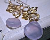 Golden - Golden Oriental Lavender Chalcedony Briolette Earrings - FREE SHIPPING
