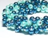Blue Cluster Bracelet, Light & Dark Blue Czech Glass Pearls with Silver Chain