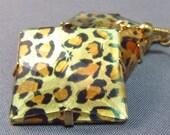 Leopard Earrings, Acrylic & Gold Metal -SALE WERE 7.00-