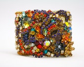 Year of the Monkey- One of a Kind Wide Woven Crystal Cuff