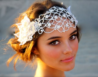 Vintage Inspired Crystal Bridal Head Cap- Juliet