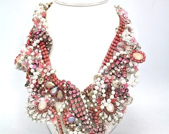 Doloris Petunia One of a Kind Custom Necklace (hand dyed with lace trim from bride's grandmother dress)- Sold Out