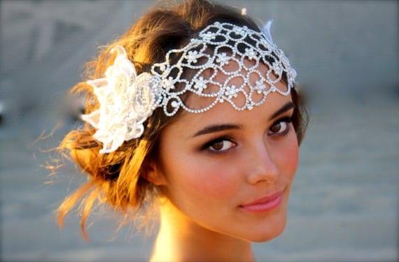 Vintage Inspired Crystal Bridal Head Cap- Juliet