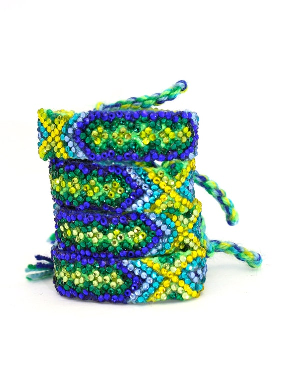 SALE- The Original Swarovski Crystal Friendship Bracelet- Bluebell Design ( Navy, Light Blue, Yellow & Green)