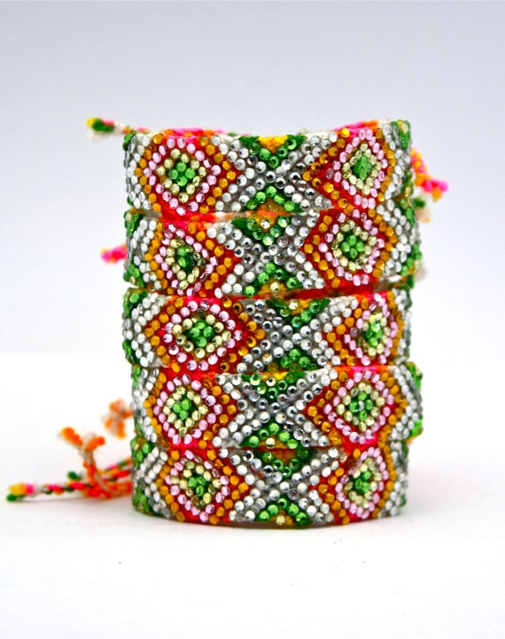 The Original Swarovski Crystal Friendship Bracelet- Freesia Design (Green, Orange, Yellow & Silver)