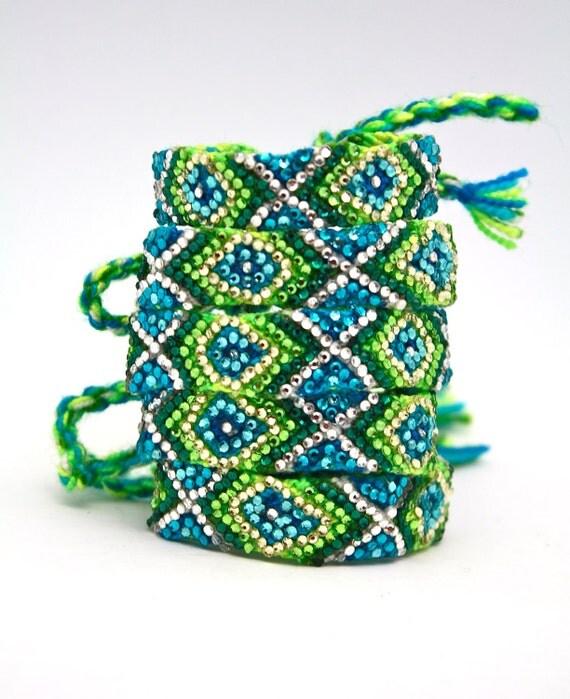 The Original Swarovski Crystal Friendship Bracelet- Queen Anne's Lace Design ( Blue, Green & Silver)