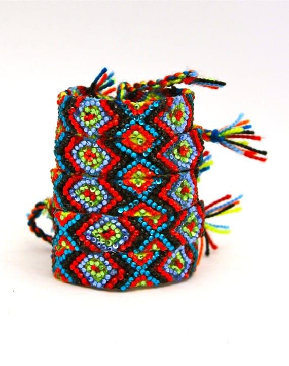 Sale- The Original Swarovski Crystal Friendship Bracelet- Primrose Design ( Red, Black, Green & Blue)