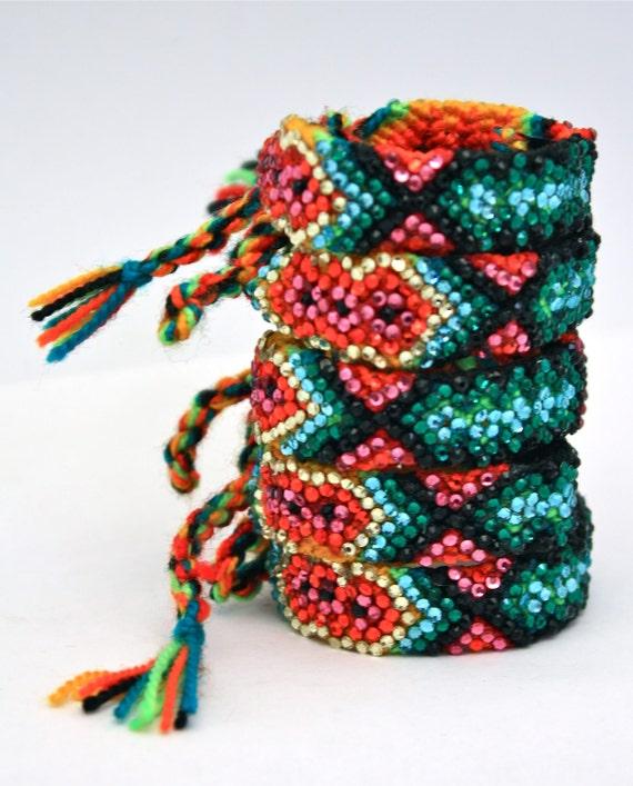 SALE-The Original Swarovski Crystal Friendship Bracelet- Cactus Flower Design (Green, Black, Red, Pink & Silver))