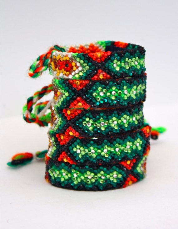 Sale- The Original Swarovski Crystal Friendship Bracelet-  Tomato Flower Design ( Yellow, Black, Green, Orange & Red)