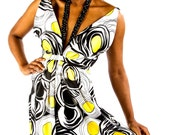 Yellow, Black & White  Geometric Print V-Neck Hand Beaded Gown Dress