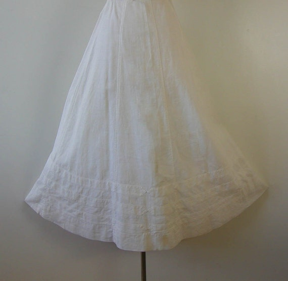 Edwardian Dress Skirt RARE Appliqued Linen Walking Skirt 1900s Antique Wedding Dress
