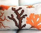 Hand Screened Linen Botanical Coral in Orange Lumbar Pillow