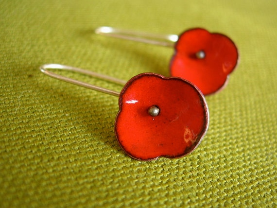 enameled poppy earrings