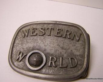 Vintage Pewter Belt Buckle Western World