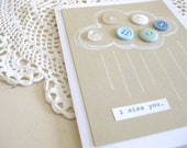 i miss you.  - button cloud greeting card